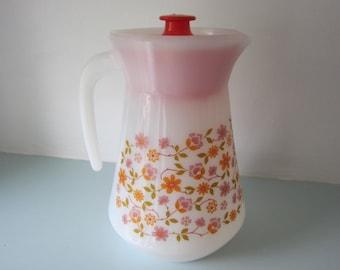 Jug, pitcher, milk glass, Vintage jug, French Arcopal, milk glass jug, pyrex jug, pitcher with lid, retro 1970's kitchenware, picnic jug