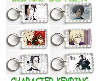 Black Butler Keyring,Sebastian,Ciel,Grell,Anime,Manga,Keychain,Birthday,Valentine,Christmas,Gift,Love,