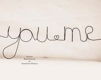 "Wire Word ""you me"" Wall Hanging Art"