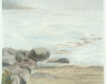 Foggy Maine Coast Original Oil Painting