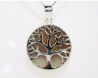 Two Double Sides Tree Of  Life Pendant, Shell pendant necklace, Sterling silver pendant, Unique Shell Pendant, Judaica Jewelry, Judaica