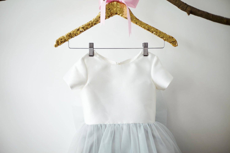 Light Gray Bridesmaid Dresses Knee Length Soft Tulle: Short Sleeves Ivory Satin Silver Gray Tulle Flower Girl Dress