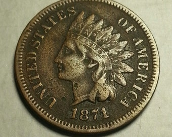 1871 Indian Head Penny One Cent Piece Very Fine Condition FREE SHIPPING