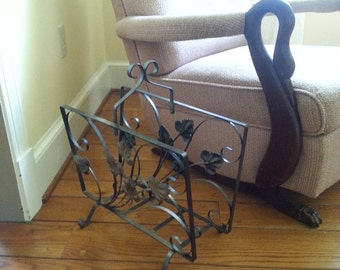 Vintage Wrought Iron Magazine Rack Black With Gold Accent Flower Pattern Shabby Chic