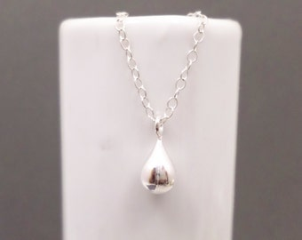 """Tiny Silver Teardrop Necklace. Free Shipping. Shiny Sterling Silver Tiny Puffed Puff Drop. Small Simple Pendant. Dainty Delicate Tear.  3/8"""""""