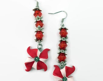 Unique Pinwheel Earrings of polymer clay. Handmade jewelry. Red and White clay. Dangle earrings