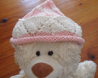 Baby Hat baby hand knitted pink and white lace pattern