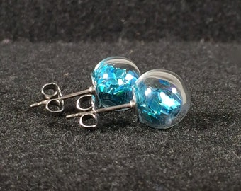 Holographic Glitter in Round Hand Blown Glass titanium stud earrings