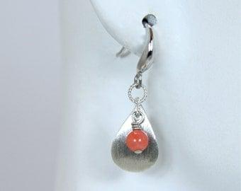 Coral Sterling Silver drop Earrings, Coral earrings, Leaf earrings