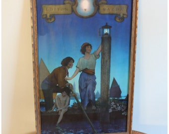 M5140 Vintage Original  Maxfield Parrish 'Venetian Lamplighters' Edison Mazda Large Calendar Top Lithograph Art Print, Framed