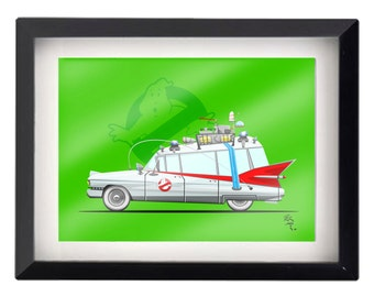 """5""""x7"""" NYC Ghostbusters Ecto-1 illustration"""