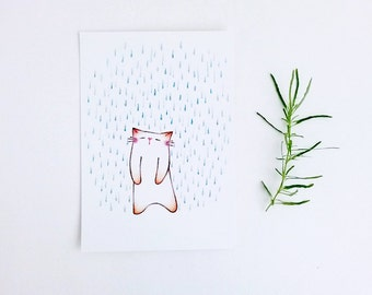 Cat Illustration, cat postcard, Digital wall art, cat print, cat art print, postcard - Rainy Day