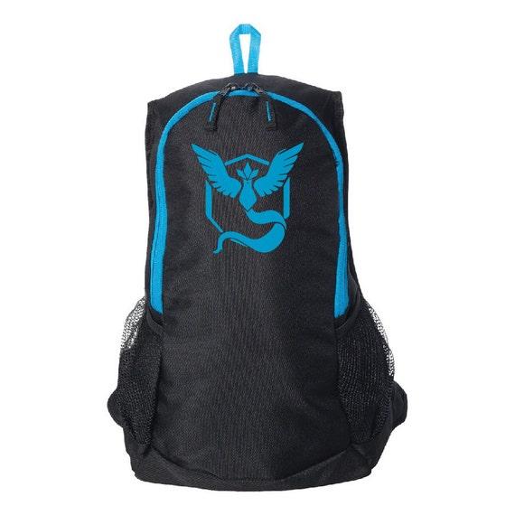 POKEMON GO Backpack, Team Mystic, Team Blue, School Bag, Black and Blue Day Pack, Hydro Pack Sleeve, Tablet Sleeve, Geekery Gift, Otaku Gift