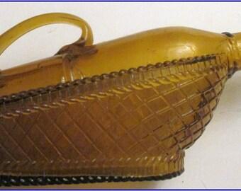 Wine Vinegar Bottle -Decorative -Glass -Vintage-Amber---Unusual