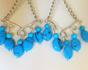 Earrings with turquoise blue