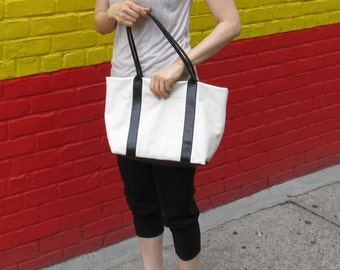 soft leather tote/white,black leather bag/white,Black Leather Shopper/white Leather handbag /white,Black Leather tote / Raw Edged Shopper