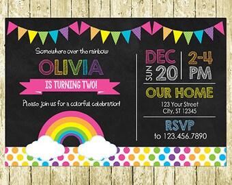 Rainbow Party Digital Chalkboard Invitations