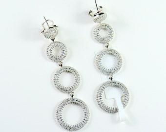 Elegant 925 Sterling Silver Earrings with Top Grade cz