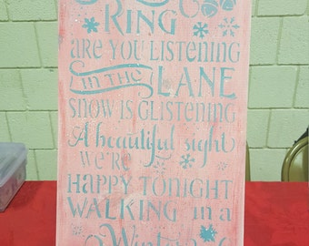 Sleigh Bells Ring- red with blue writing