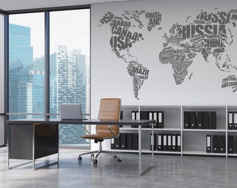 World Map Word Cloud Wall Decal - Vinyl Graphic Wall Sticker