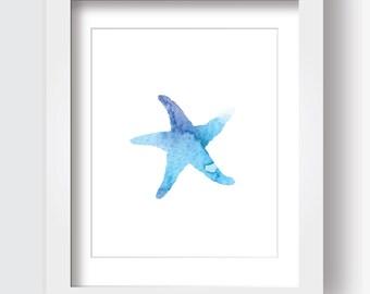 Starfish Printable, Ocean Theme, Nursery Art, Watercolor, Print at Home, Blue Wall Art, Bathroom Art, Under the Sea, Beach Theme, Digital