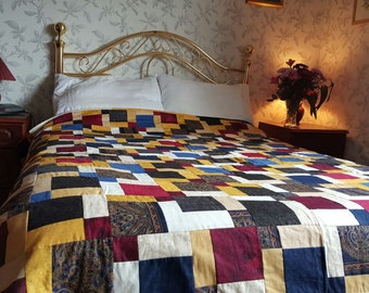 Broken dishes patchwork  double bed quilt or throw
