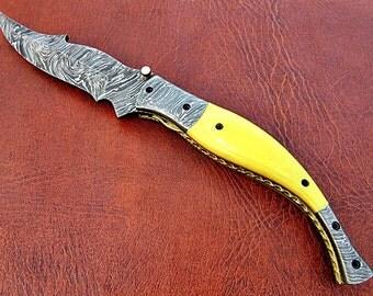 fantastic hand made Damascus pocket Knife