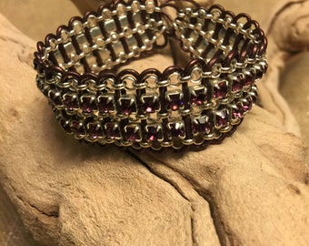 Leather Wrapped Crystal & Chain Bracelet