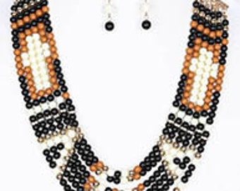 BEADED NECKLACE/EARRING set