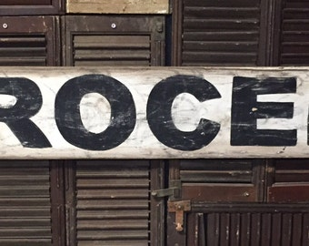 "7"" x 48"" ""Grocery"" vintage style sign."
