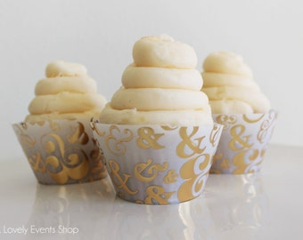 Gold Ampersand Cupcake Wrappers, Gold Cupcake Wrappers, Modern Cupcake Wrappers, Wedding Cupcake Wrappers- Set Of 6,12,16,24+