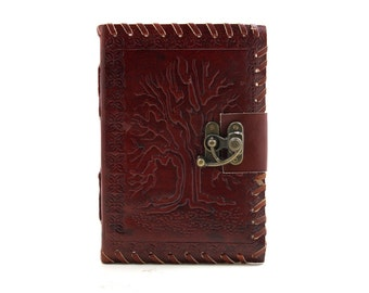 Free Shipping! Tree Brown Leather Journal with Latch 6x4