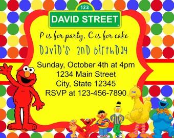 Sesame Street Invitation/Elmo Invitations