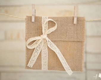 SET of 5 Natural Linen Burlap cd/dvd cases/pockets/envelopes with ivory cotton lace ribbon. Photography packaging Handmade
