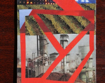 """Original notepad/sketchpad. Analog collage """"Industrial Artvolution"""". Hand cut collage notepad cover"""