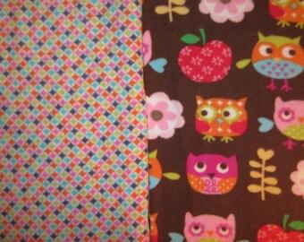 Fleece Tie Blanket-Folksy Owls and Multicolored Pattern, large