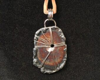 Handmade steel metal pendant necklace