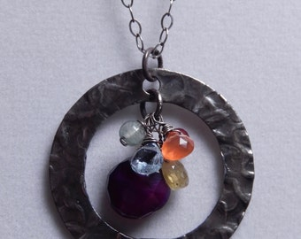 Sterling Silver Circle and Gemstone cluster necklace