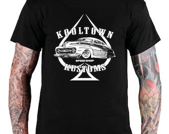 KOOL TOWN Kustoms Hot Rod T Shirt , Men's T Shirt ,Rat Rod T Shirt , Rockabilly, Vintage, Muscle Car Tee