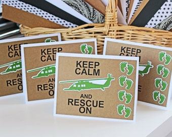 Keep Calm and Rescue On - HH60 Pavehawk, Green Feet, USAF Combat Rescue, TOML- Set of 4- Customizable