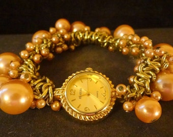 Wrist watch with faux pearls!