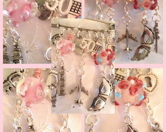 BDSM Jewellery-Charm -50 Shades of Grey inspired,kinky ladies gift,handcuffs,mask,padlock,key,trust,glass beads,submissive jewellery,pretty