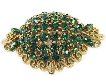 Lisner emerald rhinestone brooch