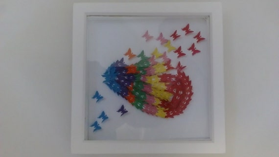 3D butterfly canvas, 3D butterfly box frame, hand cut individually, perfect for Mother's Day, new home gifts, rainbow butterfly, colours