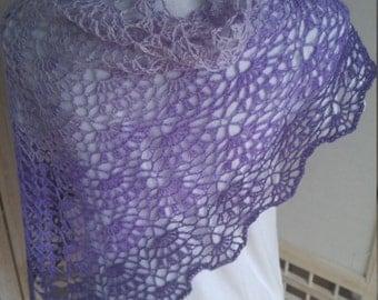 Crochet Violet Fans Shawl Wrap Scarf