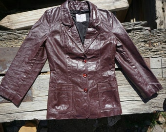 Vintage Wilsons Cherry Brown Leather Jacket size small