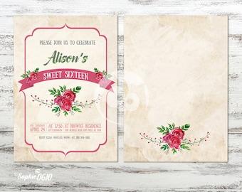 Printable rosy romantic vintage birthday invitation, Digital file(s)