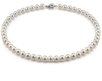 """6.5-7mm Cultured south sea pearl necklace AA, 18"""", with Certification"""