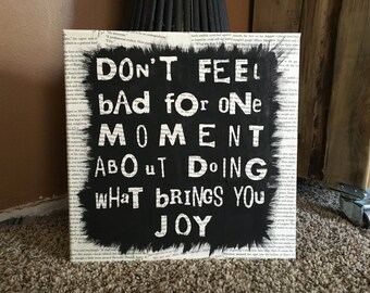 Custom 8x10 or 12x12 Recycled Book Page Canvas made with your favorite quote!