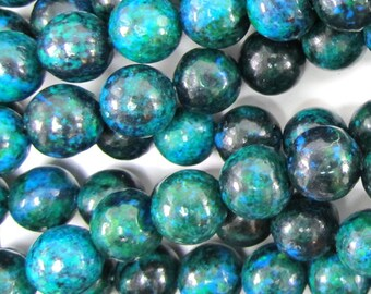 "10mm blue green azurite round beads 15.5"" strand S2 34849"